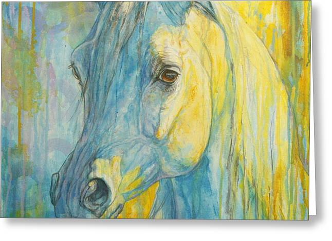 Horse Artist Greeting Cards - Misterious Blues Greeting Card by Silvana Gabudean