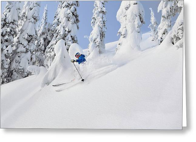 Mistie Fortin Skis Powder At Whitefish Greeting Card by Chuck Haney