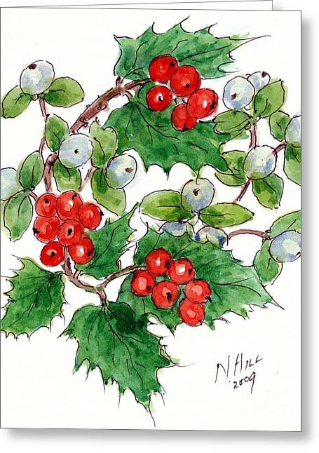 Berry Greeting Cards - Mistletoe and Holly Wreath Greeting Card by Nell Hill