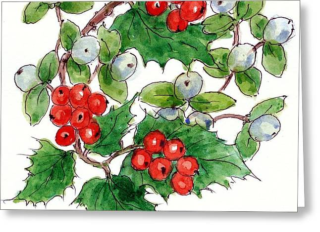 Mistletoe And Holly Wreath Greeting Card by Nell Hill
