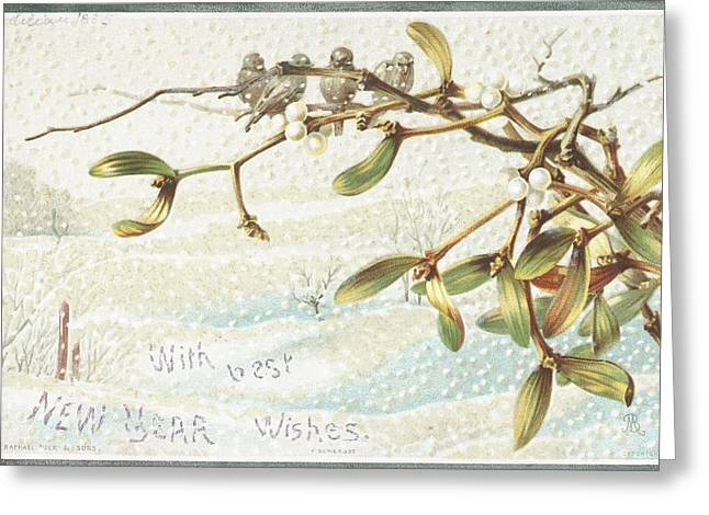 Wishes Drawings Greeting Cards - Mistletoe in the Snow Greeting Card by English School
