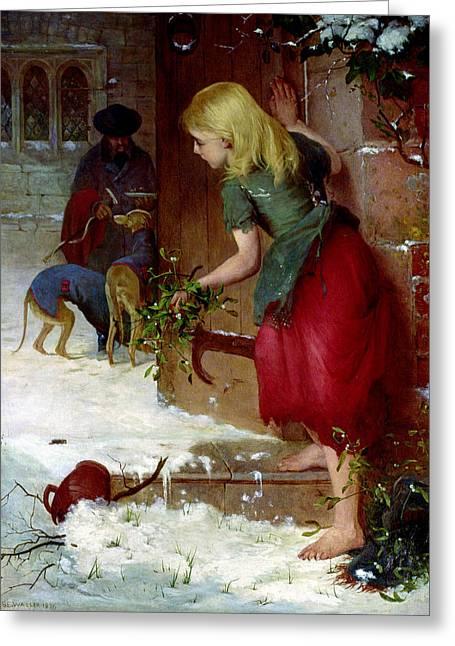 Voyeur Greeting Cards - Mistletoe Seller Greeting Card by Samuel Edmund Waller