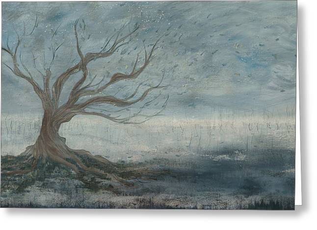 Tree Roots Paintings Greeting Cards - Mistree Greeting Card by Emily Magone