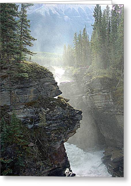 Canoe Waterfall Mixed Media Greeting Cards - Mists Greeting Card by Janet Ashworth