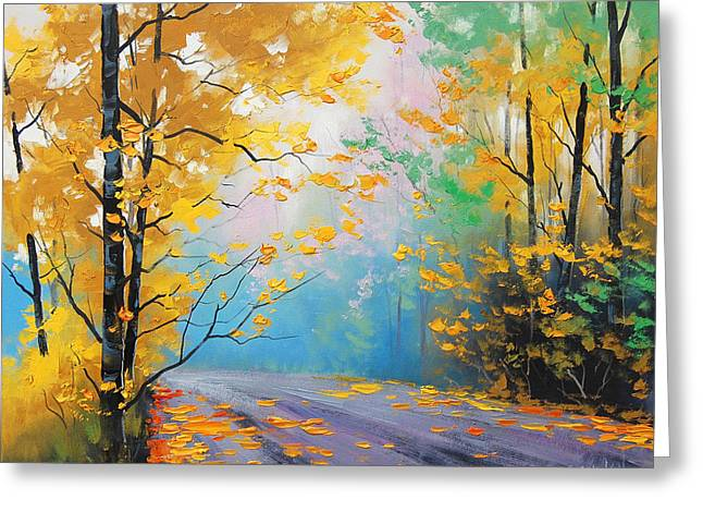 Calm Paintings Greeting Cards - Misty Autumn Day Greeting Card by Graham Gercken