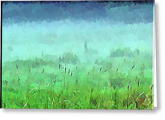 Autumn In The Country Digital Art Greeting Cards - Misty Autumn Meadow Greeting Card by Daniel Janda