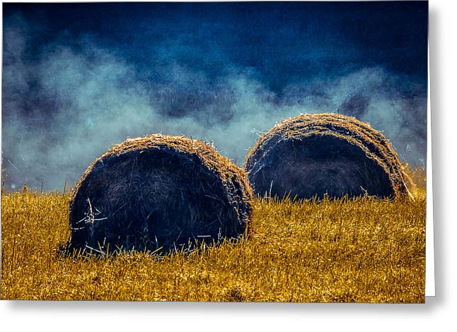 Hayrick Greeting Cards - Misty Bales 2 Greeting Card by Brian Stevens