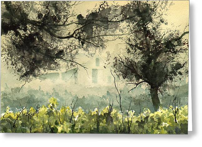 Fog Mist Paintings Greeting Cards - Misty Barn Greeting Card by Sam Sidders