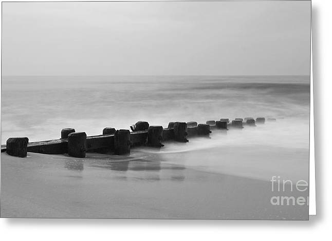 Lbi Greeting Cards - Misty Beach Morning Greeting Card by Mark Miller