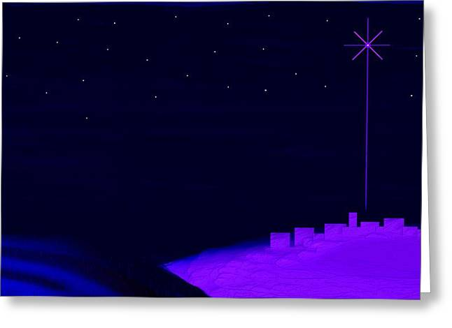 Lion And The Lamb Greeting Cards - Misty Bethlehem Star Nativity Landscape  Greeting Card by L Brown