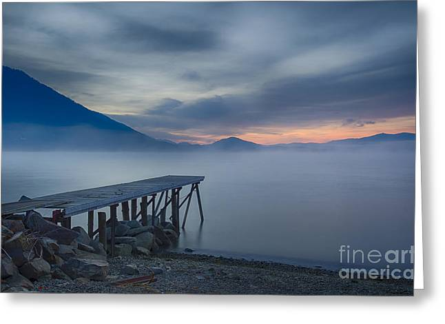 Lake Pend Oreille Greeting Cards - Misty Blue Twilight Greeting Card by Idaho Scenic Images Linda Lantzy