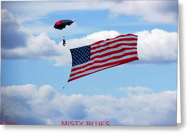 Dream Team Art Greeting Cards - Misty Blues  Greeting Card by Michael Rucker