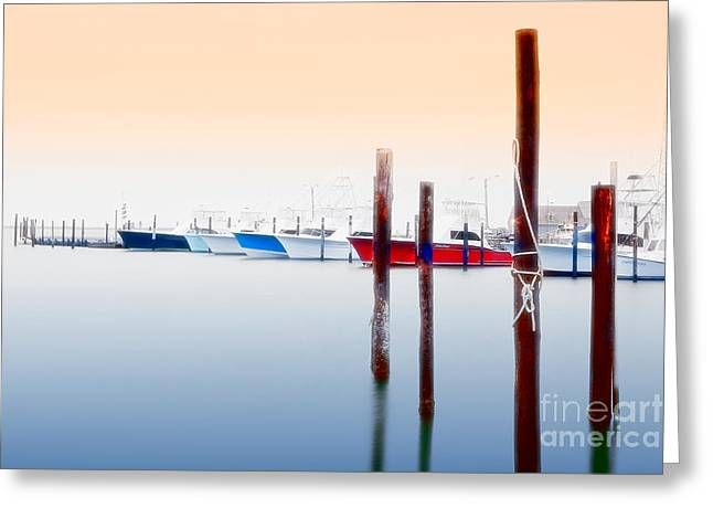 Paint Photograph Greeting Cards - Misty Boats on the Outer Banks I Greeting Card by Dan Carmichael