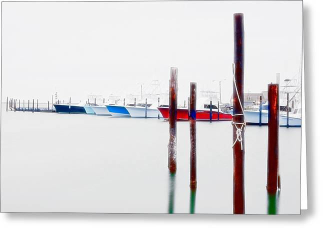 Paint Photograph Greeting Cards - Misty Boats on the Outer Banks II Greeting Card by Dan Carmichael