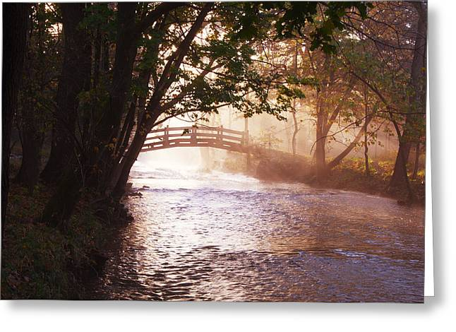 Misty Bridge Greeting Cards - Misty Bow Bridge Greeting Card by Bill Cannon