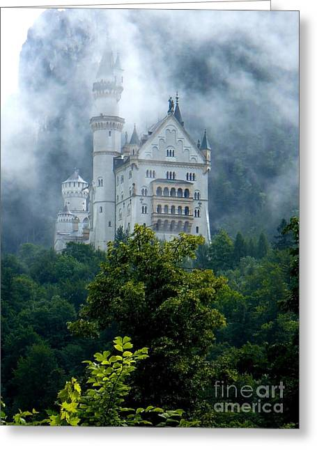 Castle On Mountain Greeting Cards - Misty Castle Greeting Card by Carol Groenen
