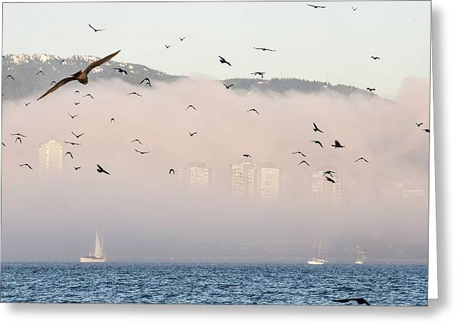 Park Scene Greeting Cards - Misty City Greeting Card by James Wheeler