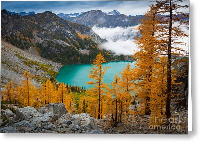 Leavenworth Greeting Cards - Misty Colchuck Lake Greeting Card by Inge Johnsson