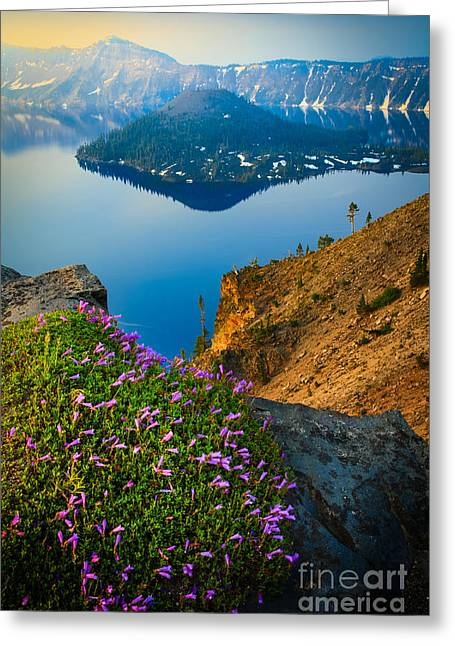 Crater Lake Greeting Cards - Misty Crater Lake Greeting Card by Inge Johnsson