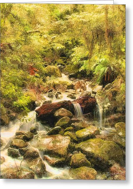 Pouring Digital Art Greeting Cards - Misty Creek Greeting Card by Dale Jackson