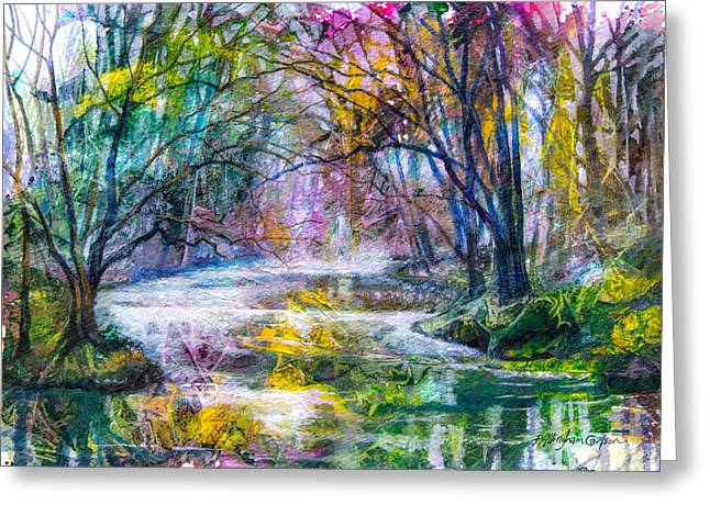 Fog Mist Mixed Media Greeting Cards - Misty Creek Greeting Card by Patricia Allingham Carlson