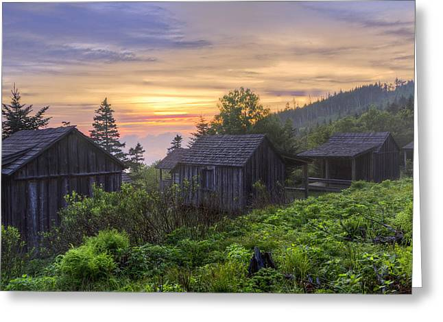 Appalachian Trail Greeting Cards - Misty Dawn at Mt Le Conte Greeting Card by Debra and Dave Vanderlaan