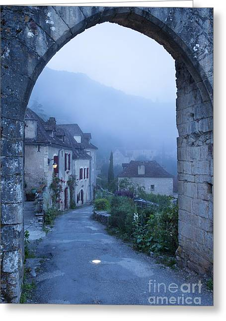 Midi Greeting Cards - Misty dawn in Saint Cirq Lapopie Greeting Card by Brian Jannsen