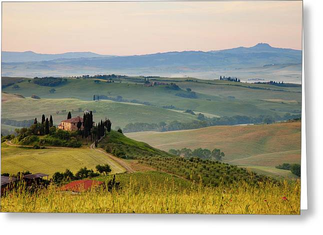 Misty Dawn Over The Belvedere Greeting Card by Brian Jannsen