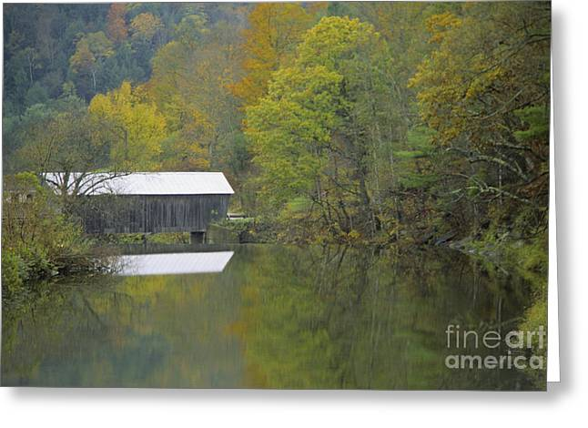 Covered Bridge Greeting Cards - Misty Day At Mill Bridge Covered Bridge Greeting Card by Ellen Thane