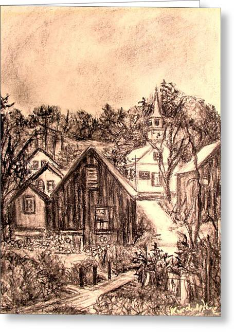 Small Towns Drawings Greeting Cards - Misty Day Greeting Card by Kendall Kessler