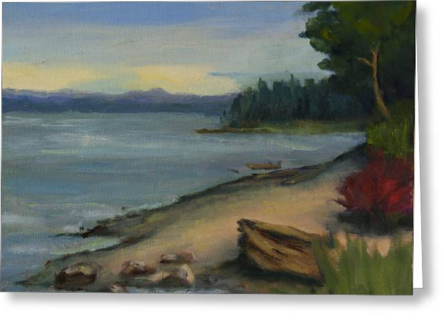 South Puget Sound Greeting Cards - Misty Day on Puget Sound Greeting Card by Maria Hunt