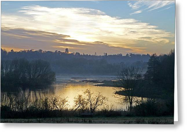 Lanscape Greeting Cards - Misty Evening Light Greeting Card by Gill Billington