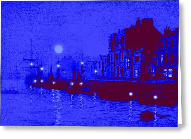 Sea Moon Full Moon Mixed Media Greeting Cards - Misty Evening Whitby Harbor 1893 Greeting Card by John A Grimshaw - L Brown