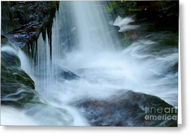 Moss Green Greeting Cards - Misty Falls - 73 Greeting Card by Paul W Faust -  Impressions of Light