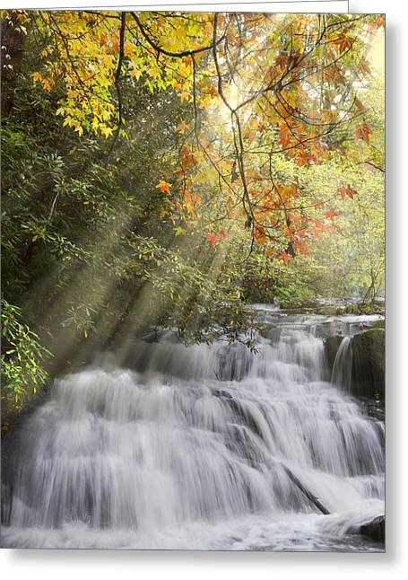Tennessee Barn Greeting Cards - Misty Falls at Coker Creek Greeting Card by Debra and Dave Vanderlaan