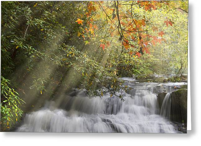 Misty Falls at Coker Creek Greeting Card by Debra and Dave Vanderlaan