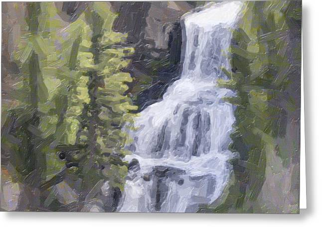 Misty Falls Greeting Card by Jo-Anne Gazo-McKim