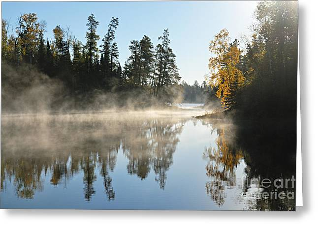 Lhr Images Greeting Cards - Misty Farewell to Jordan Lake Greeting Card by Larry Ricker