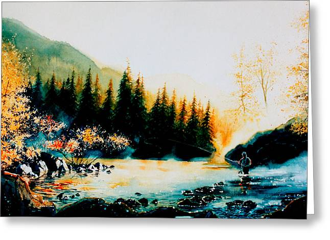 Fishing Creek Greeting Cards - Misty Fishing Morning Greeting Card by Hanne Lore Koehler