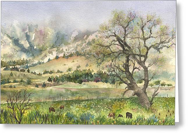 Early Spring Paintings Greeting Cards - Misty Flatirons Greeting Card by Anne Gifford