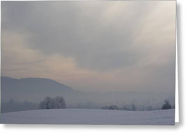 Foggy Day Greeting Cards - Misty Frosty Day Greeting Card by Angel  Tarantella