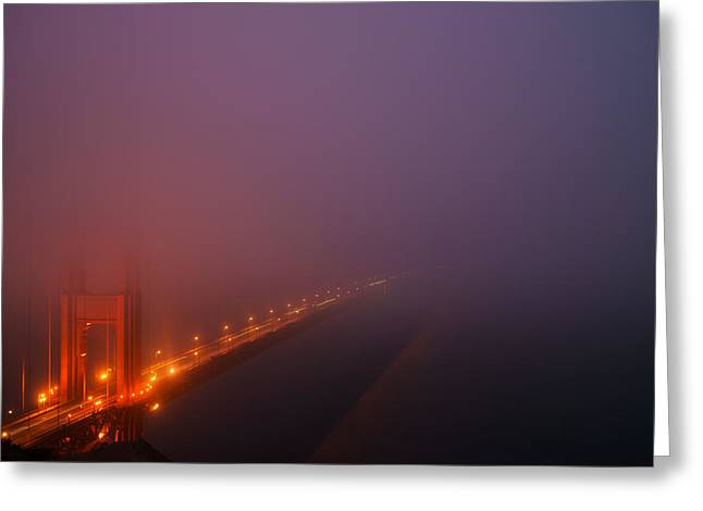 Skylines Pastels Greeting Cards - Misty Golden Gate  Greeting Card by Francesco Emanuele Carucci
