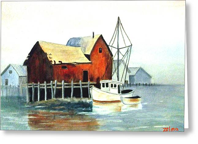 Zelma Hensel Greeting Cards - Misty Harbor Greeting Card by Zelma Hensel