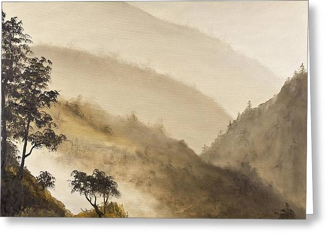 Mystical Landscape Greeting Cards - Misty Hills Greeting Card by Darice Machel McGuire