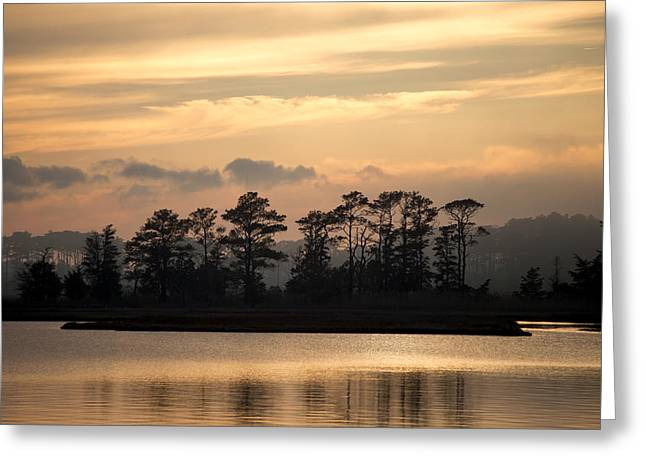 Sunset Prints Greeting Cards - Misty Island of Assawoman Bay Greeting Card by Bill Swartwout