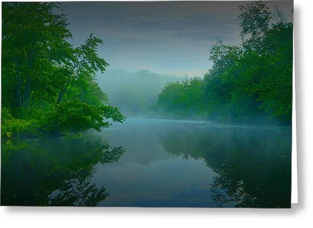 Moonrise Greeting Cards - Misty Lake Greeting Card by Geoffrey Coelho