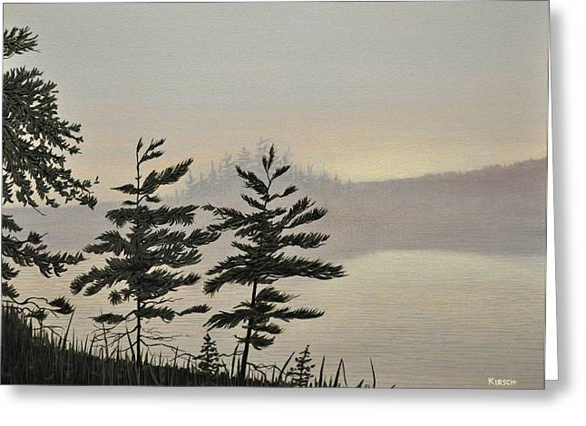 Mist Paintings Greeting Cards - Misty Lake Greeting Card by Kenneth M  Kirsch