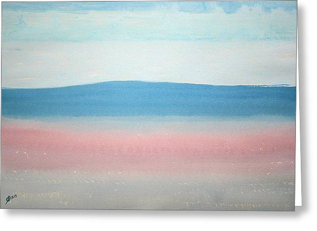 Pen And Paper Greeting Cards - Misty Lake original painting Greeting Card by Sol Luckman