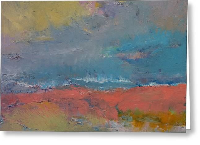 Foggy Ocean Paintings Greeting Cards - Misty Greeting Card by Michael Creese