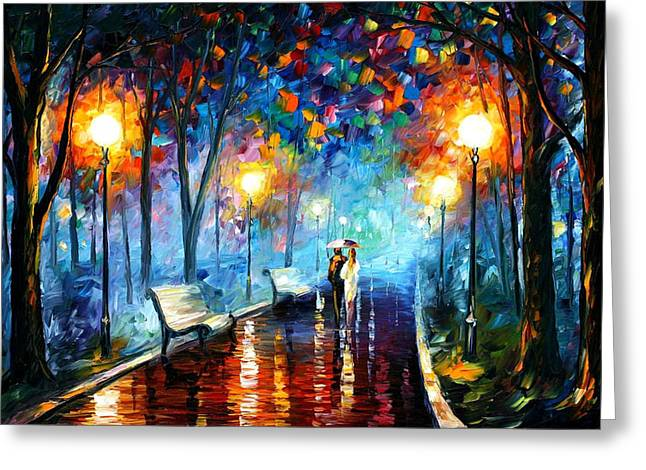 Sizes Greeting Cards - Misty Mood - PALETTE KNIFE Oil Painting On Canvas By Leonid Afremov Greeting Card by Leonid Afremov